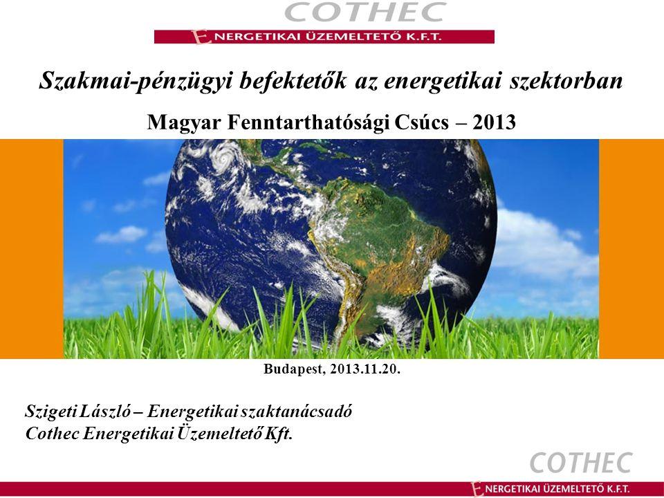 Szakmai-pénzügyi befektetők az energetikai szektorban Magyar Fenntarthatósági Csúcs – 2013 Budapest, 2013.11.20.