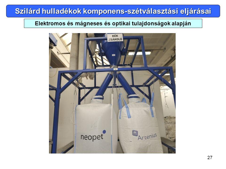 27 Elektromos és mágneses és optikai tulajdonságok alapján Szilárd hulladékok komponens-szétválasztási eljárásai