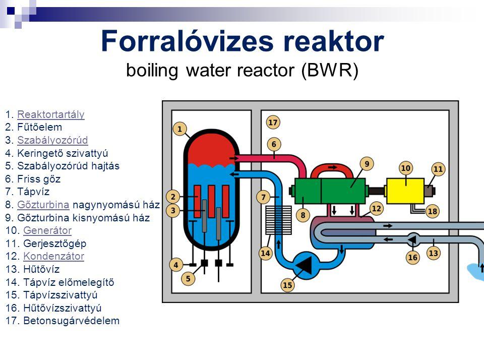 Forralóvizes reaktor boiling water reactor (BWR) 1. Reaktortartály 2. Fűtőelem 3. Szabályozórúd 4. Keringető szivattyú 5. Szabályozórúd hajtás 6. Fris