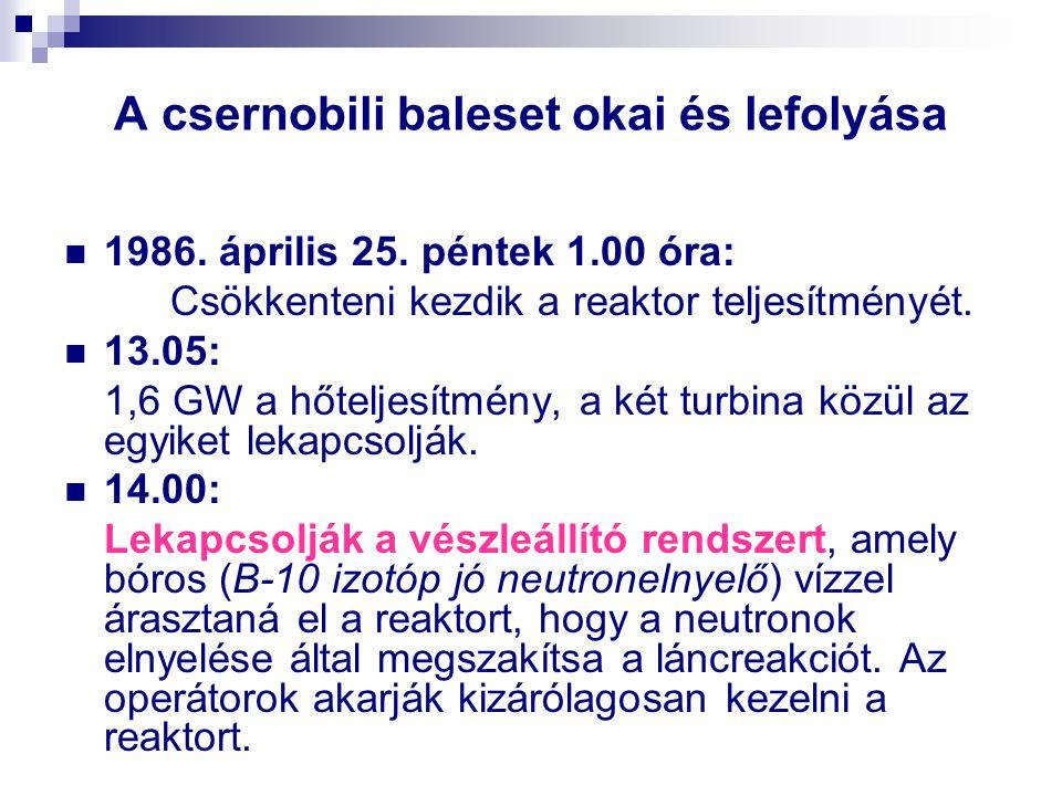 A csernobili baleset okai és lefolyása 1986. április 25. péntek 1.00 óra: Csökkenteni kezdik a reaktor teljesítményét. 13.05: 1,6 GW a hőteljesítmény,