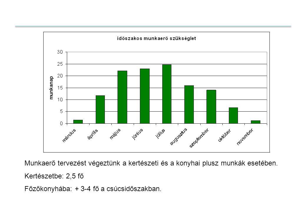 Munkaerő tervezést végeztünk a kertészeti és a konyhai plusz munkák esetében. Kertészetbe: 2,5 fő Főzőkonyhába: + 3-4 fő a csúcsidőszakban.