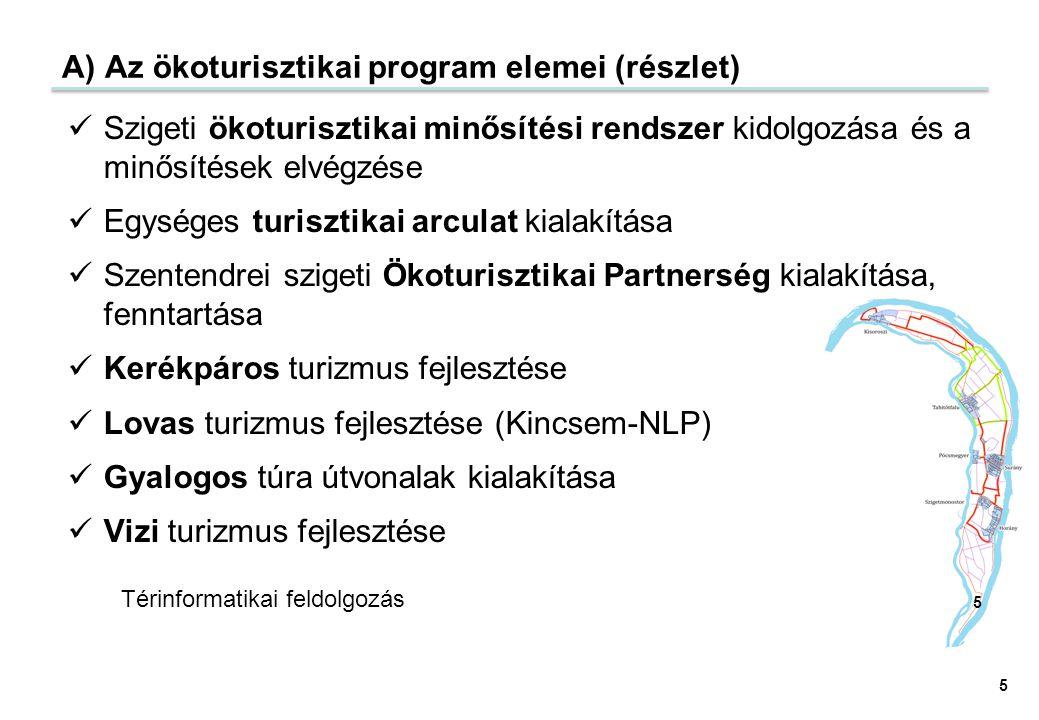 A) Az ökoturisztikai program elemei (részlet) Szigeti ökoturisztikai minősítési rendszer kidolgozása és a minősítések elvégzése Egységes turisztikai a