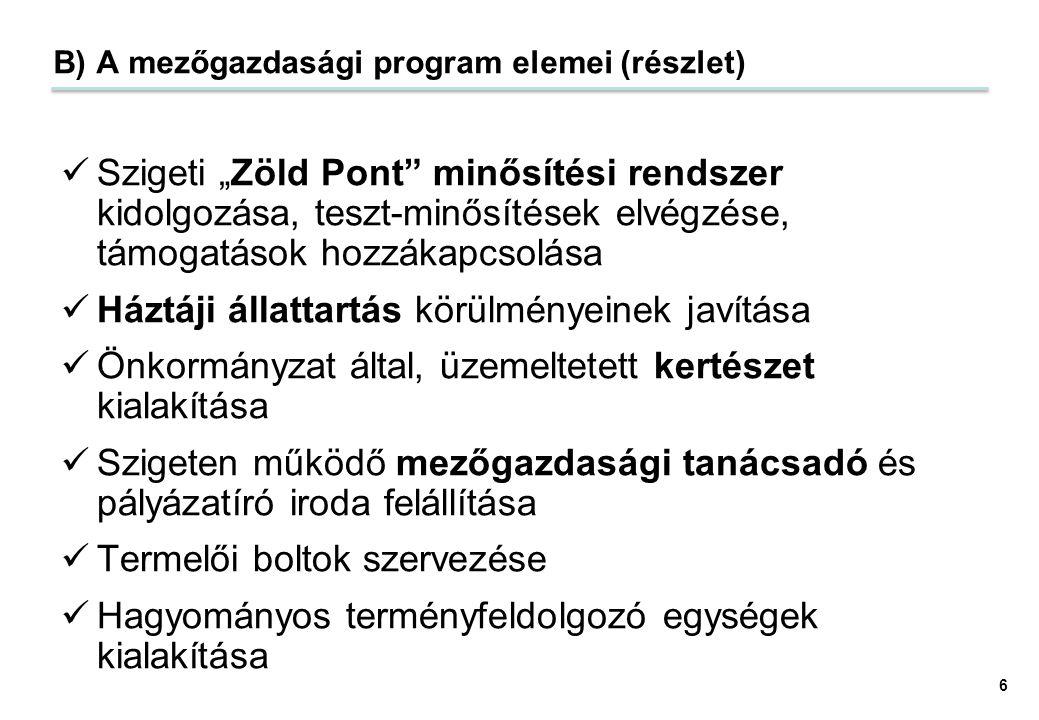 """B) A mezőgazdasági program elemei (részlet) Szigeti """"Zöld Pont"""" minősítési rendszer kidolgozása, teszt-minősítések elvégzése, támogatások hozzákapcsol"""