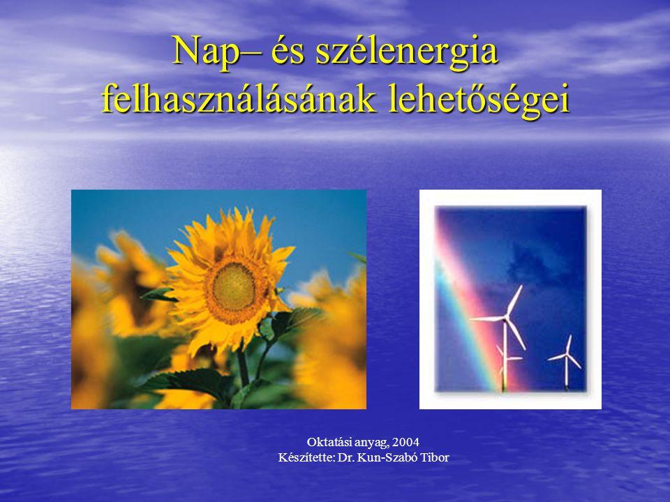 Nap– és szélenergia felhasználásának lehetőségei Oktatási anyag, 2004 Készítette: Dr. Kun-Szabó Tibor