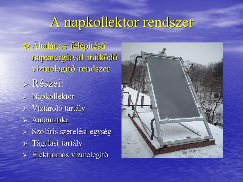 A napkollektor rendszer  Általános felépítésű napenergiával működő vízmelegítő rendszer  Részei:  Napkollektor  Víztároló tartály  Automatika  S
