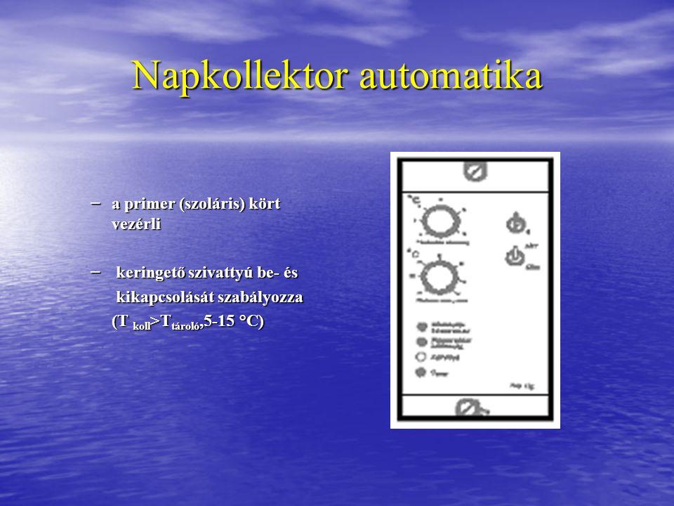 Napkollektor automatika – a primer (szoláris) kört vezérli – keringető szivattyú be- és kikapcsolását szabályozza kikapcsolását szabályozza (T koll >T