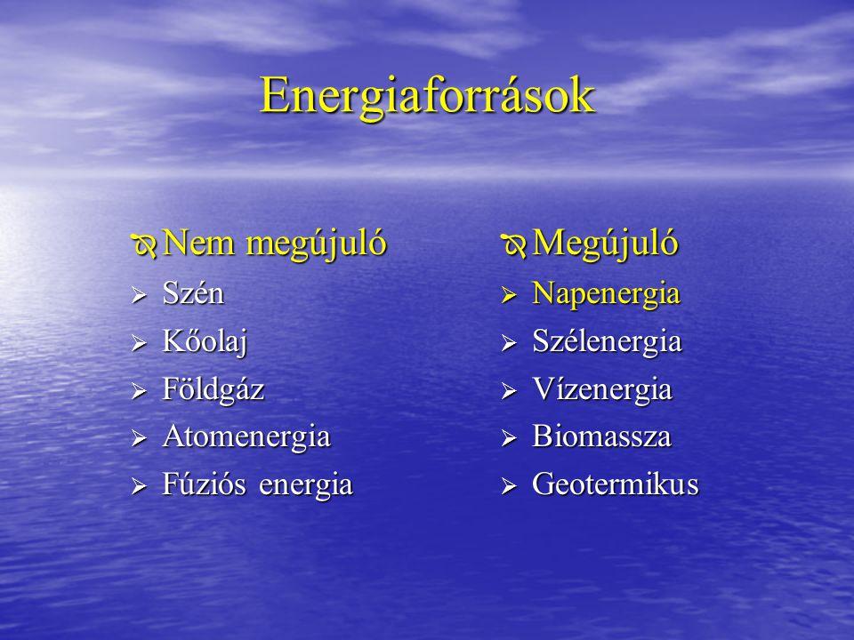 Energiaforrások  Nem megújuló  Szén  Kőolaj  Földgáz  Atomenergia  Fúziós energia  Megújuló  Napenergia  Szélenergia  Vízenergia  Biomassza