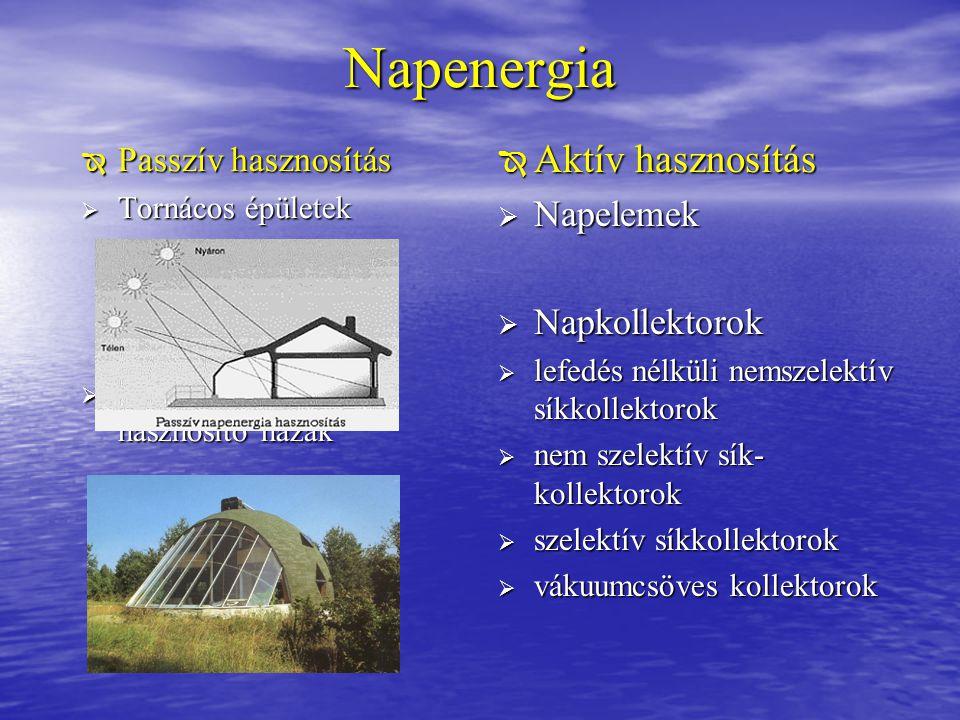 Napenergia  Passzív hasznosítás  Tornácos épületek  Passzív napenergia hasznosító házak  Aktív hasznosítás  Napelemek  Napkollektorok  lefedés