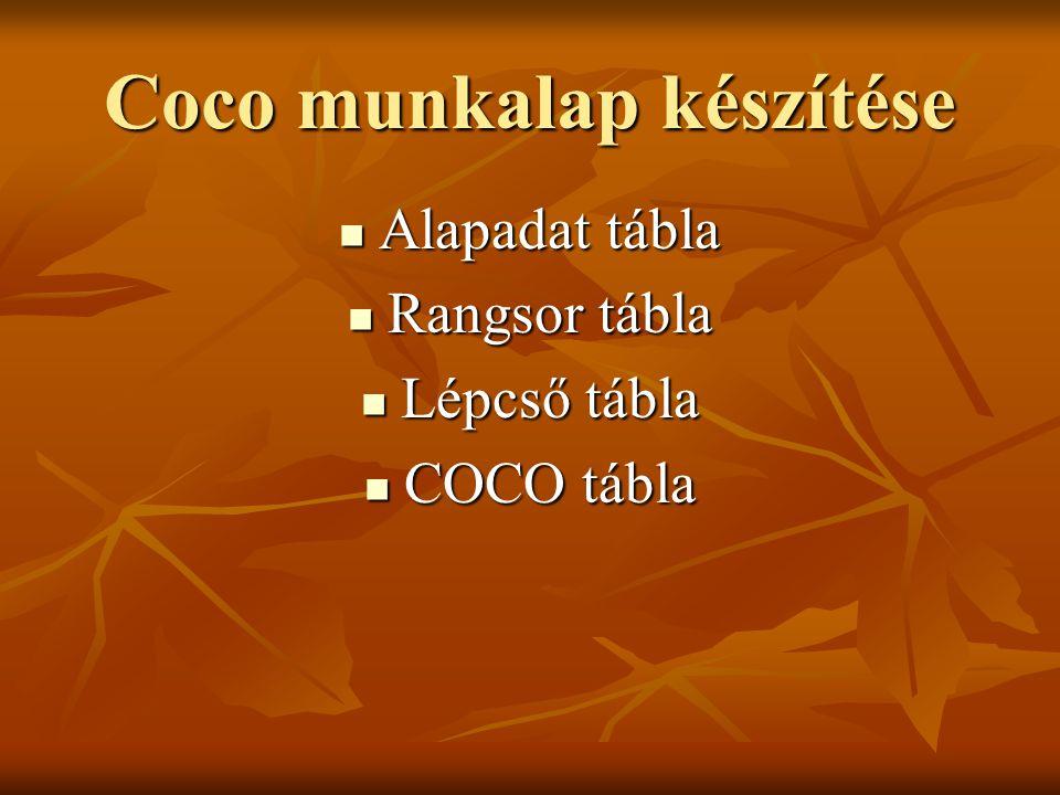 Coco munkalap készítése Alapadat tábla Alapadat tábla Rangsor tábla Rangsor tábla Lépcső tábla Lépcső tábla COCO tábla COCO tábla