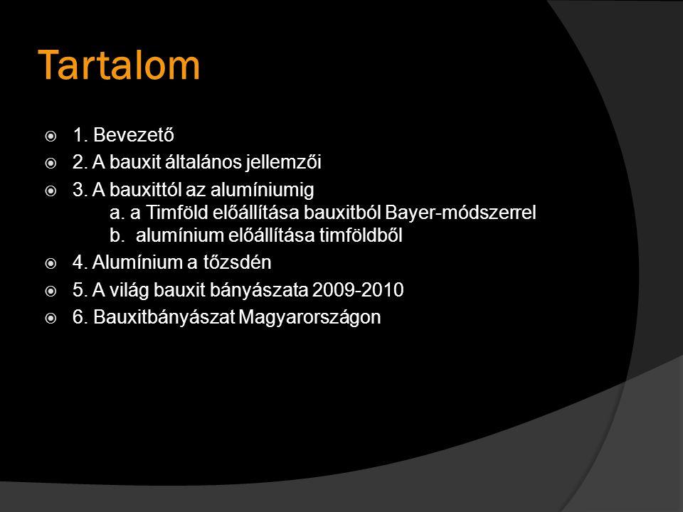Tartalom  1. Bevezető  2. A bauxit általános jellemzői  3. A bauxittól az alumíniumig a. a Timföld előállítása bauxitból Bayer-módszerrel b. alumín