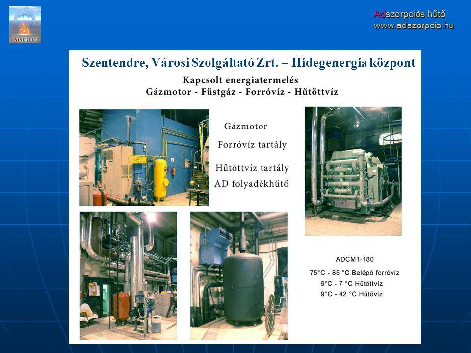 Adszorpciós hűtő www.adszorpcio.hu Szentendre, Városi Szolgáltató Zrt. – Hidegenergia központ
