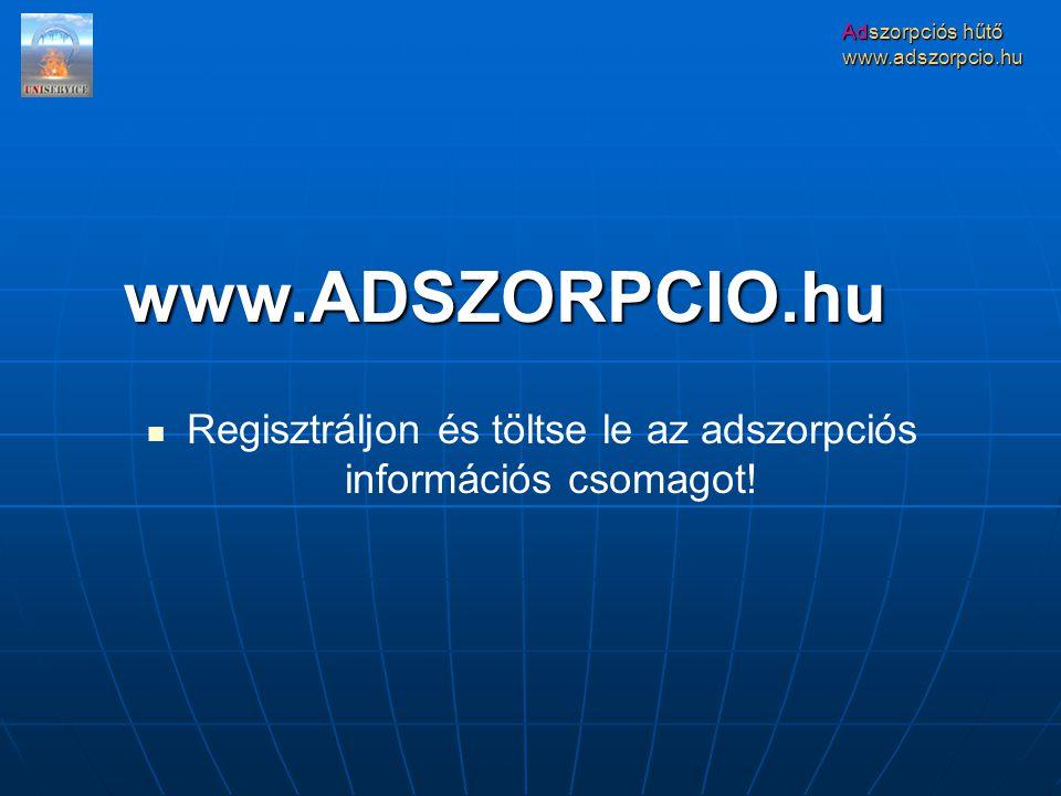 Adszorpciós hűtő www.adszorpcio.hu Regisztráljon és töltse le az adszorpciós információs csomagot.