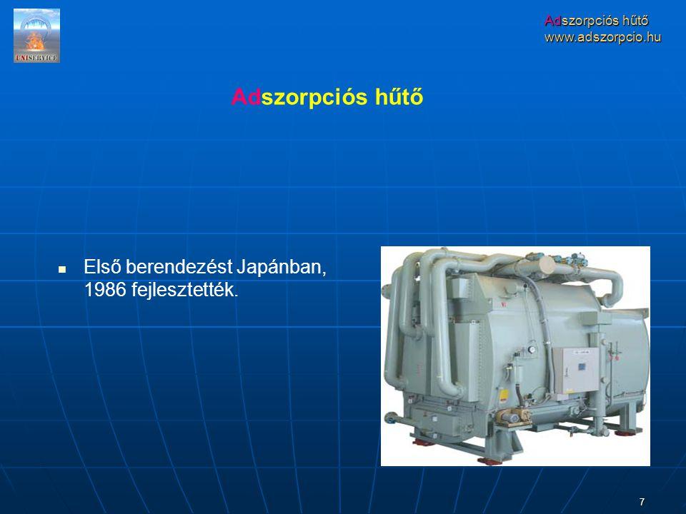 www.adszorpcio.hu 7 Első berendezést Japánban, 1986 fejlesztették. Adszorpciós hűtő