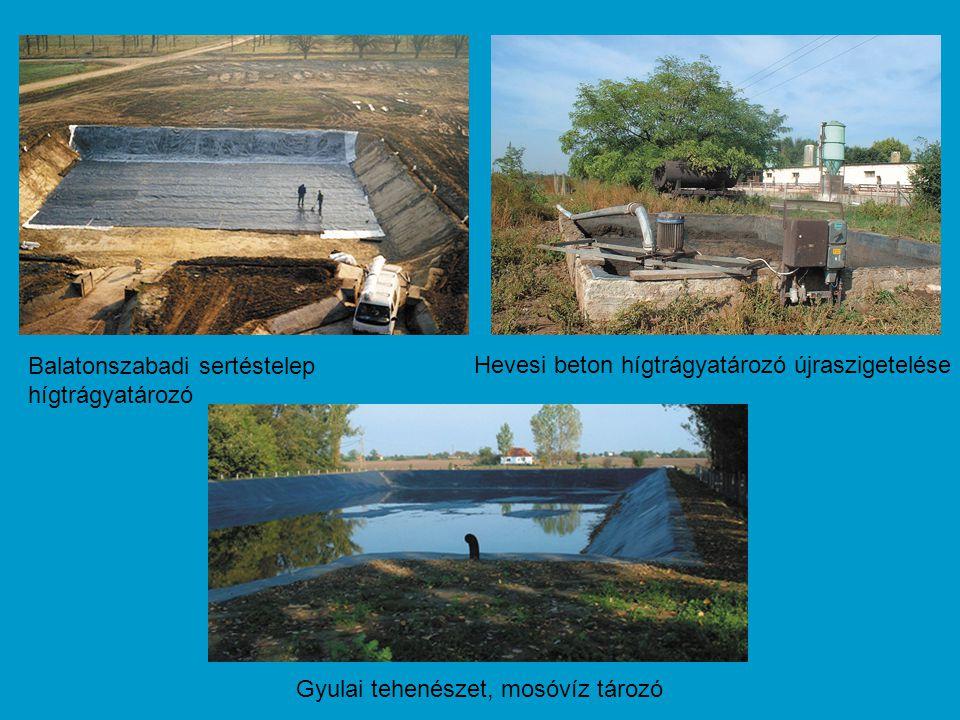 Gyulai tehenészet, mosóvíz tározó Hevesi beton hígtrágyatározó újraszigetelése Balatonszabadi sertéstelep hígtrágyatározó