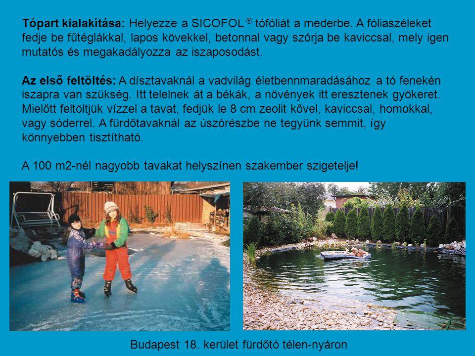 Tópart kialakítása: Helyezze a SICOFOL ® tófóliát a mederbe. A fóliaszéleket fedje be fűtéglákkal, lapos kövekkel, betonnal vagy szórja be kaviccsal,