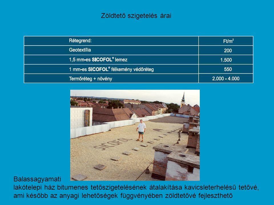 Zöldtető szigetelés árai Balassagyamati lakótelepi ház bitumenes tetőszigetelésének átalakítása kavicsleterhelésű tetővé, ami később az anyagi lehetős