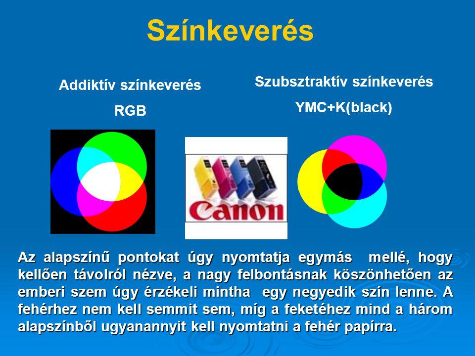 Színkeverés Addiktív színkeverés RGB Szubsztraktív színkeverés YMC+K(black) Az alapszínű pontokat úgy nyomtatja egymás mellé, hogy kellően távolról nézve, a nagy felbontásnak köszönhetően az emberi szem úgy érzékeli mintha egy negyedik szín lenne.