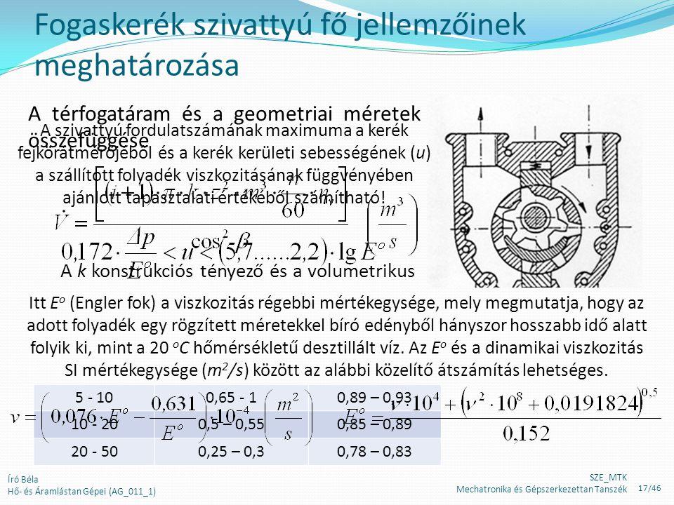 Fogaskerék szivattyú fő jellemzőinek meghatározása Mértékadó nyomás (bar) k konstrukciós tényező η v volumetrikus hatásfok 1 – 5(z+2)/z0,90 – 0,96 5 -
