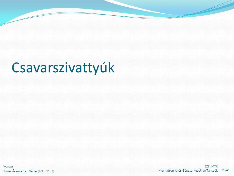Csavarszivattyúk Író Béla Hő- és Áramlástan Gépei (AG_011_1) SZE_MTK Mechatronika és Gépszerkezettan Tanszék 31/46