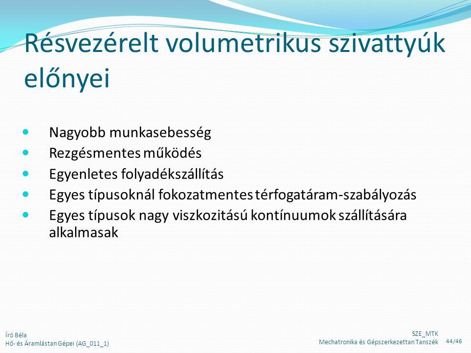 Résvezérelt volumetrikus szivattyúk előnyei Nagyobb munkasebesség Rezgésmentes működés Egyenletes folyadékszállítás Egyes típusoknál fokozatmentes tér
