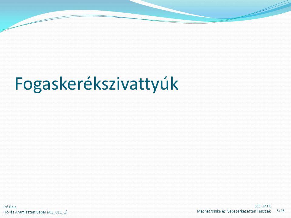 Fogaskerékszivattyúk Író Béla Hő- és Áramlástan Gépei (AG_011_1) SZE_MTK Mechatronika és Gépszerkezettan Tanszék 5/46