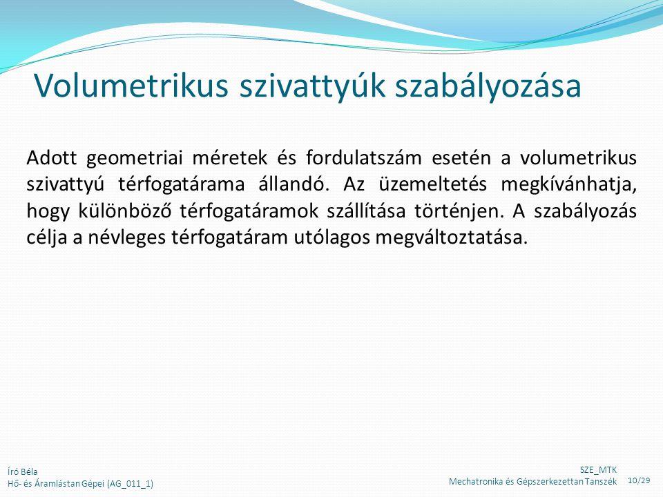 Volumetrikus szivattyúk szabályozása Adott geometriai méretek és fordulatszám esetén a volumetrikus szivattyú térfogatárama állandó. Az üzemeltetés me