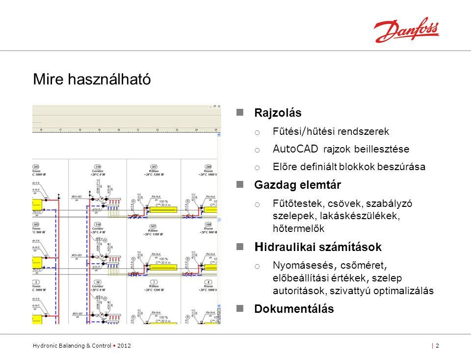 Hydronic Balancing & Control 2012| 2 Rajzolás o Fűtési / hűtési rendszerek o AutoCAD rajzok beillesztése o Előre definiált blokkok beszúrása Gazdag elemtár o Fűtőtestek, csövek, szabályzó szelepek, lakáskészülékek, hőtermelők H idraulikai számítások o Nyomásesés, csőméret, előbeállítási értékek, szelep autoritások, szivattyú optimalizálás Dokumentálás Mire használható