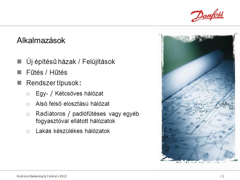Hydronic Balancing & Control 2012| 3 A lkalmazások Új építésű házak / Felújítások Fűtés / Hűtés Rendszer típusok : o Egy- / Kétcsöves hálózat o Alsó felső elosztású hálózat o Radi átoros / padlófűtéses vagy egyéb fogyasztóval ellátott hálózatok o Lakás készülékes hálózatok