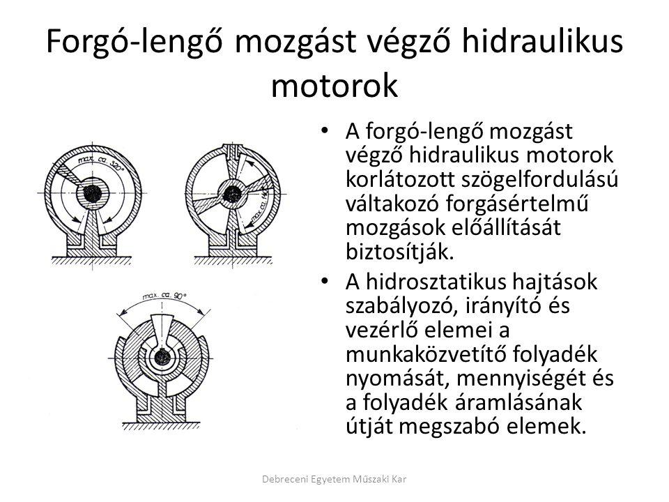 Forgó-lengő mozgást végző hidraulikus motorok A forgó-lengő mozgást végző hidraulikus motorok korlátozott szögelfordulású váltakozó forgásértelmű mozg