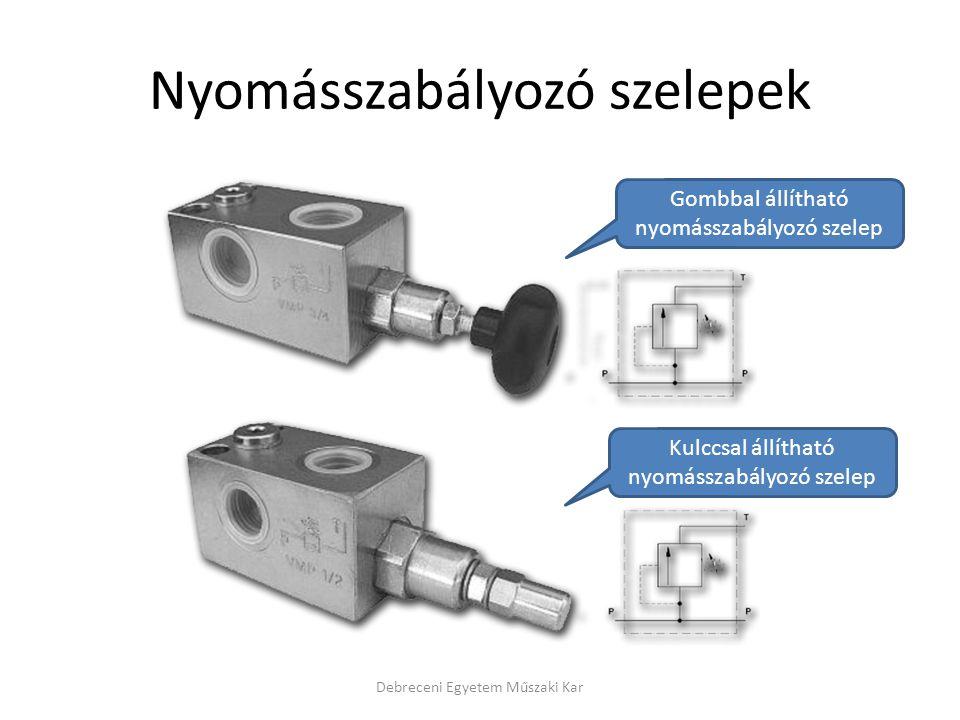 Nyomásszabályozó szelepek Debreceni Egyetem Műszaki Kar Gombbal állítható nyomásszabályozó szelep Kulccsal állítható nyomásszabályozó szelep