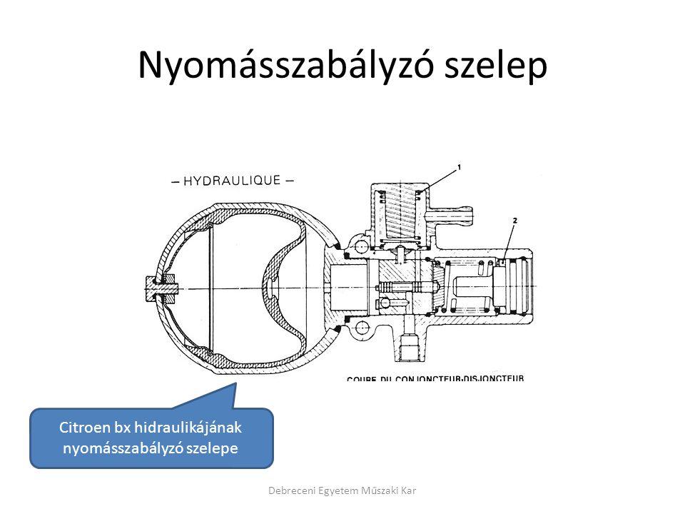 Nyomásszabályzó szelep Debreceni Egyetem Műszaki Kar Citroen bx hidraulikájának nyomásszabályzó szelepe