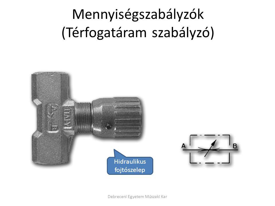 Mennyiségszabályzók (Térfogatáram szabályzó) Debreceni Egyetem Műszaki Kar Hidraulikus fojtószelep
