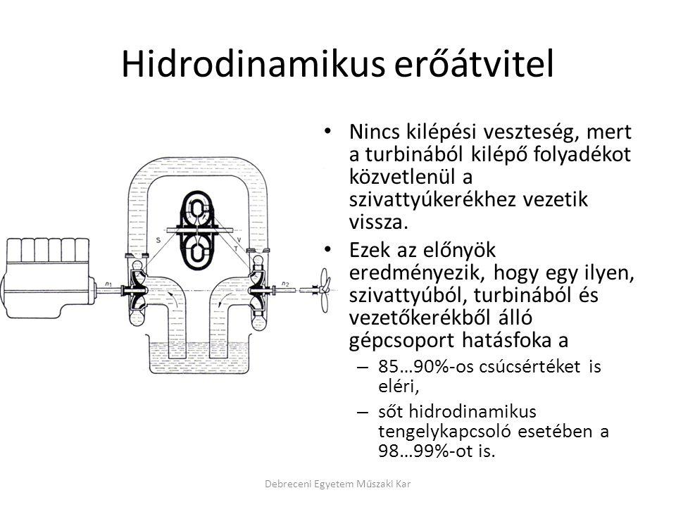 Hidrodinamikus erőátvitel Nincs kilépési veszteség, mert a turbinából kilépő folyadékot közvetlenül a szivattyúkerékhez vezetik vissza. Ezek az előnyö
