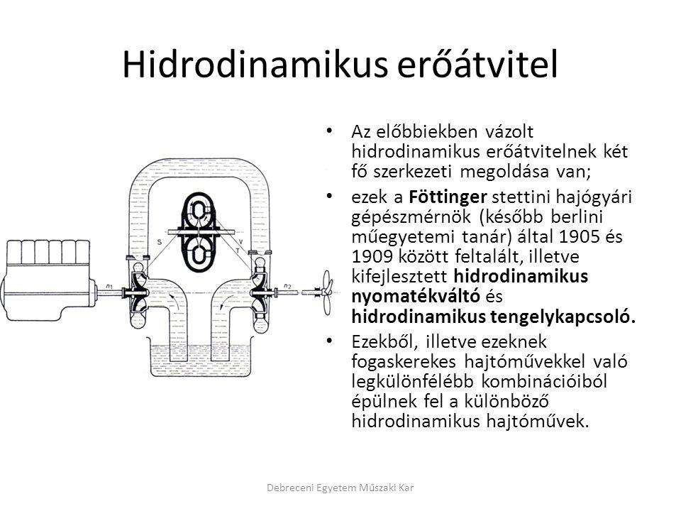 Hidrodinamikus erőátvitel Az előbbiekben vázolt hidrodinamikus erőátvitelnek két fő szerkezeti megoldása van; ezek a Föttinger stettini hajógyári gépé