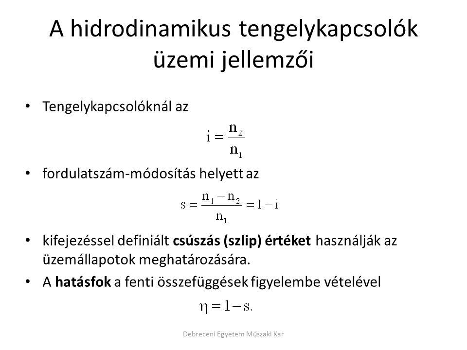 A hidrodinamikus tengelykapcsolók üzemi jellemzői Tengelykapcsolóknál az fordulatszám-módosítás helyett az kifejezéssel definiált csúszás (szlip) érté