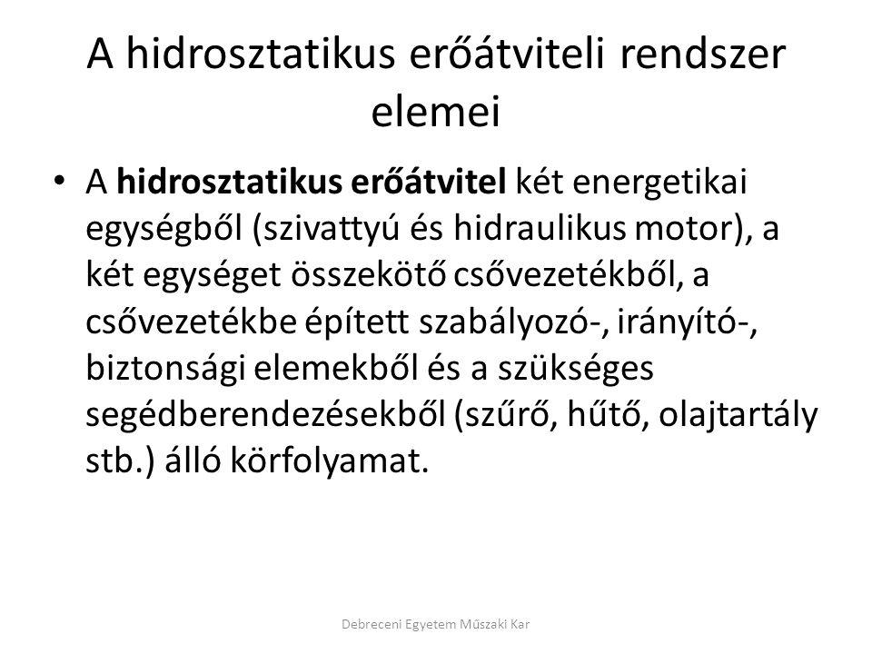 A hidrosztatikus erőátviteli rendszer elemei A hidrosztatikus erőátvitel két energetikai egységből (szivattyú és hidraulikus motor), a két egységet ös