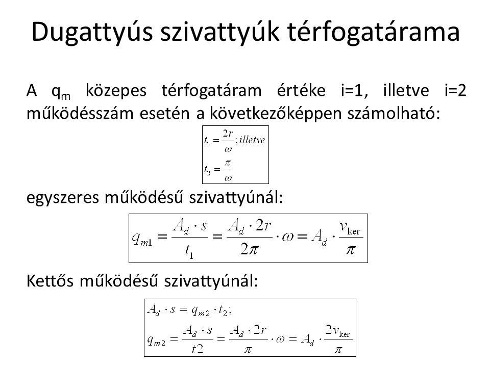 A q m közepes térfogatáram értéke i=1, illetve i=2 működésszám esetén a következőképpen számolható: egyszeres működésű szivattyúnál: Kettős működésű s