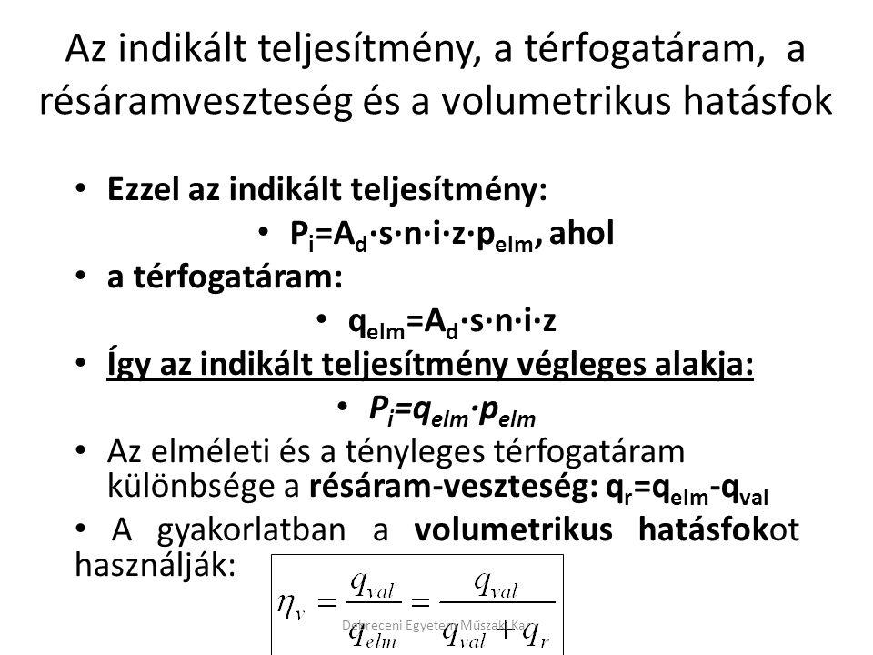 Ezzel az indikált teljesítmény: P i =A d ·s·n·i·z·p elm, ahol a térfogatáram: q elm =A d ·s·n·i·z Így az indikált teljesítmény végleges alakja: P i =q