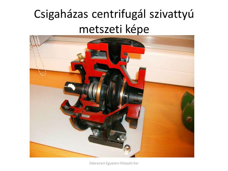 Csigaházas centrifugál szivattyú metszeti képe Debreceni Egyetem Műszaki Kar