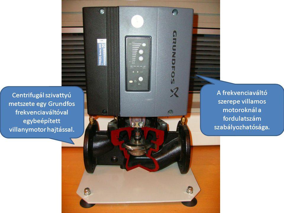 Centrifugál szivattyú metszete egy Grundfos frekvenciaváltóval egybeépített villanymotor hajtással. A frekvenciaváltó szerepe villamos motoroknál a fo