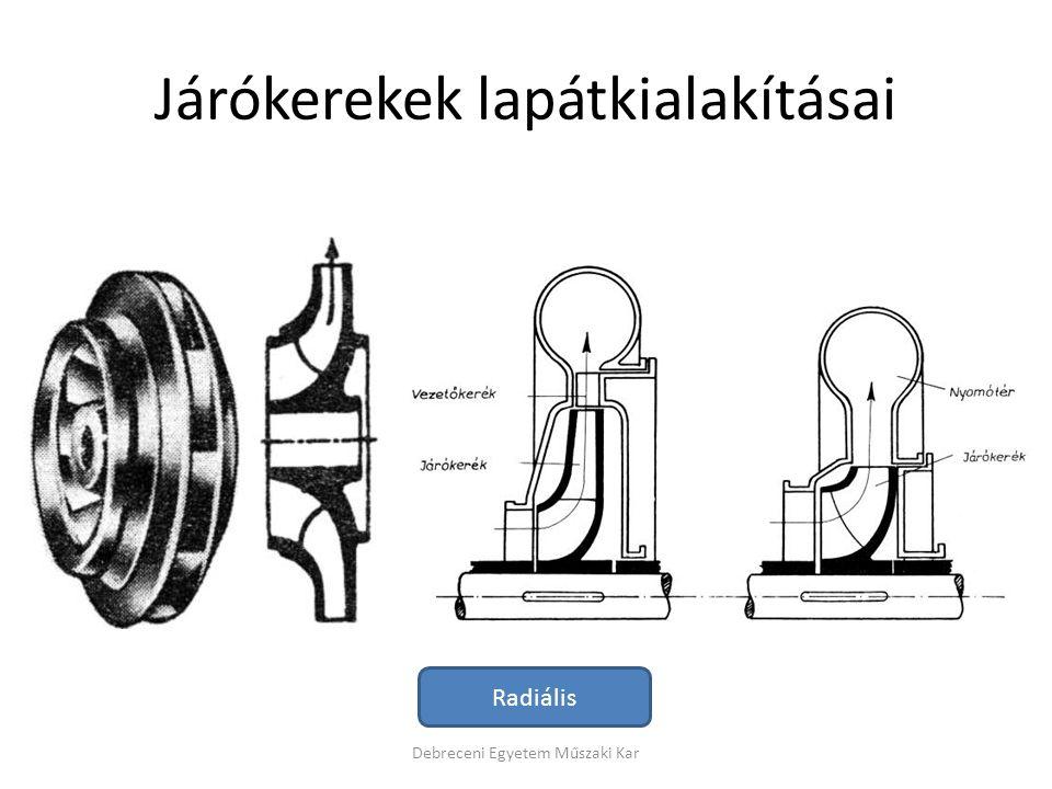 Járókerekek lapátkialakításai Debreceni Egyetem Műszaki Kar Radiális