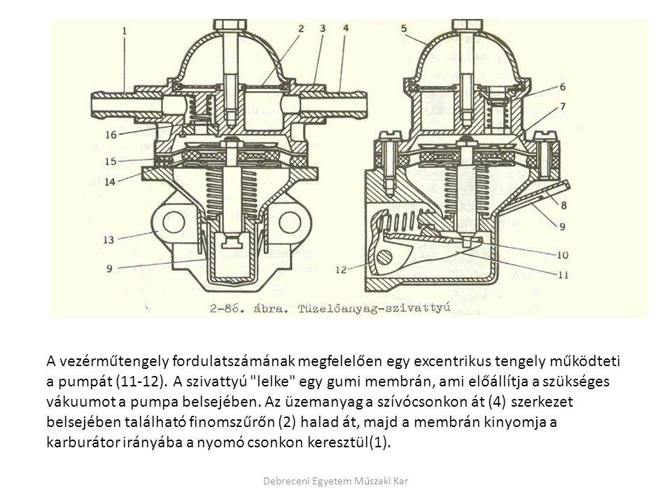 Debreceni Egyetem Műszaki Kar A vezérműtengely fordulatszámának megfelelően egy excentrikus tengely működteti a pumpát (11-12). A szivattyú