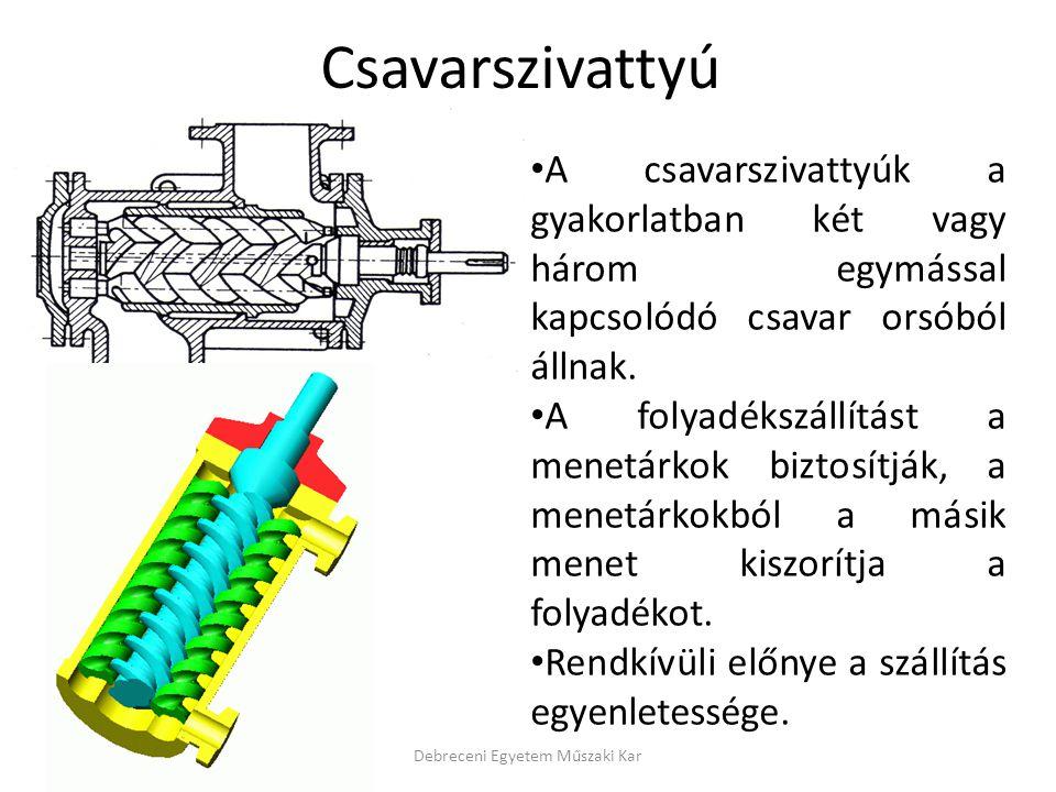 Csavarszivattyú Debreceni Egyetem Műszaki Kar A csavarszivattyúk a gyakorlatban két vagy három egymással kapcsolódó csavar orsóból állnak. A folyadéks