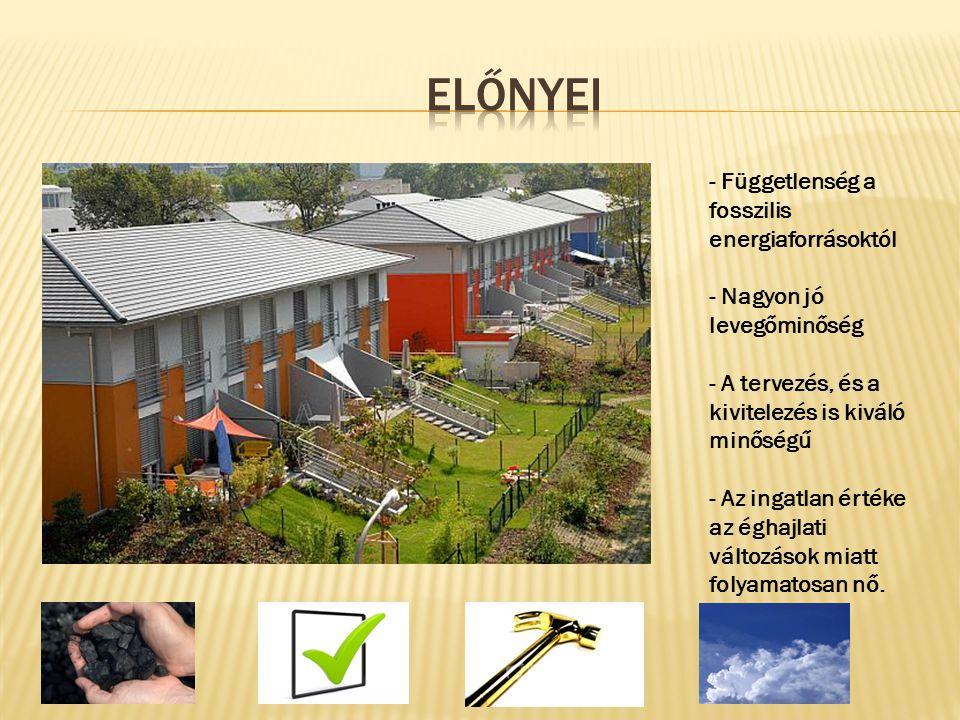 - Függetlenség a fosszilis energiaforrásoktól - Nagyon jó levegőminőség - A tervezés, és a kivitelezés is kiváló minőségű - Az ingatlan értéke az égha
