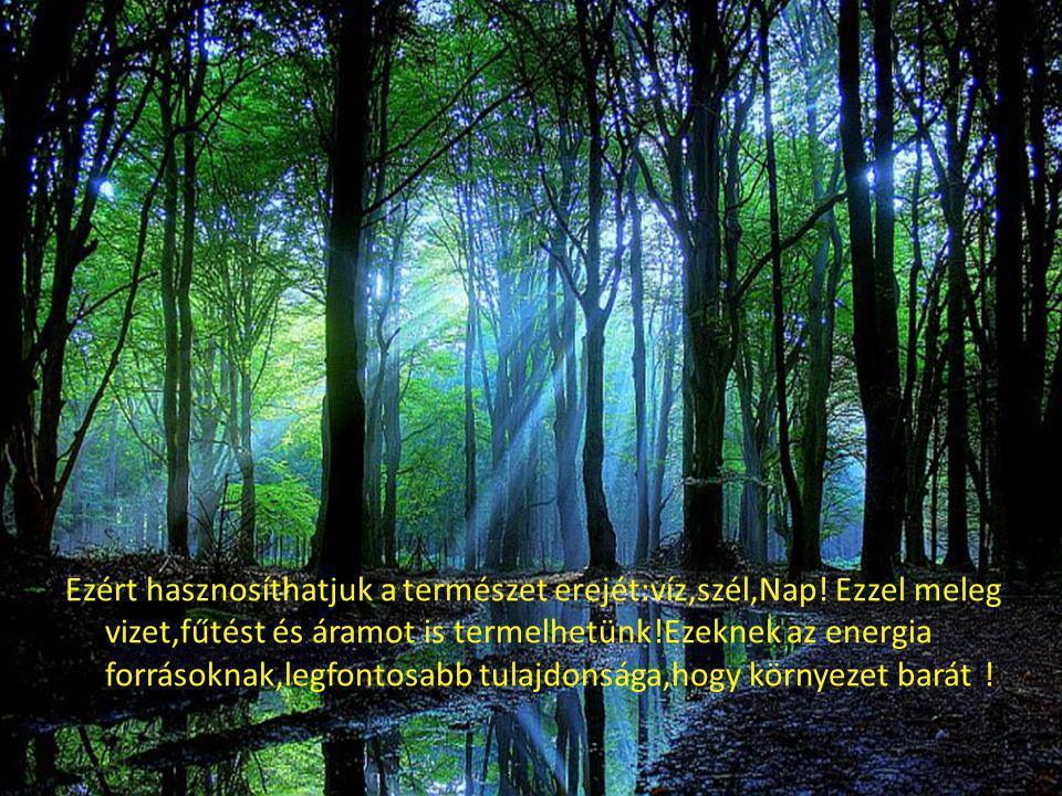 Ezért hasznosíthatjuk a természet erejét:víz,szél,Nap! Ezzel meleg vizet,fűtést és áramot is termelhetünk!Ezeknek az energia forrásoknak,legfontosabb