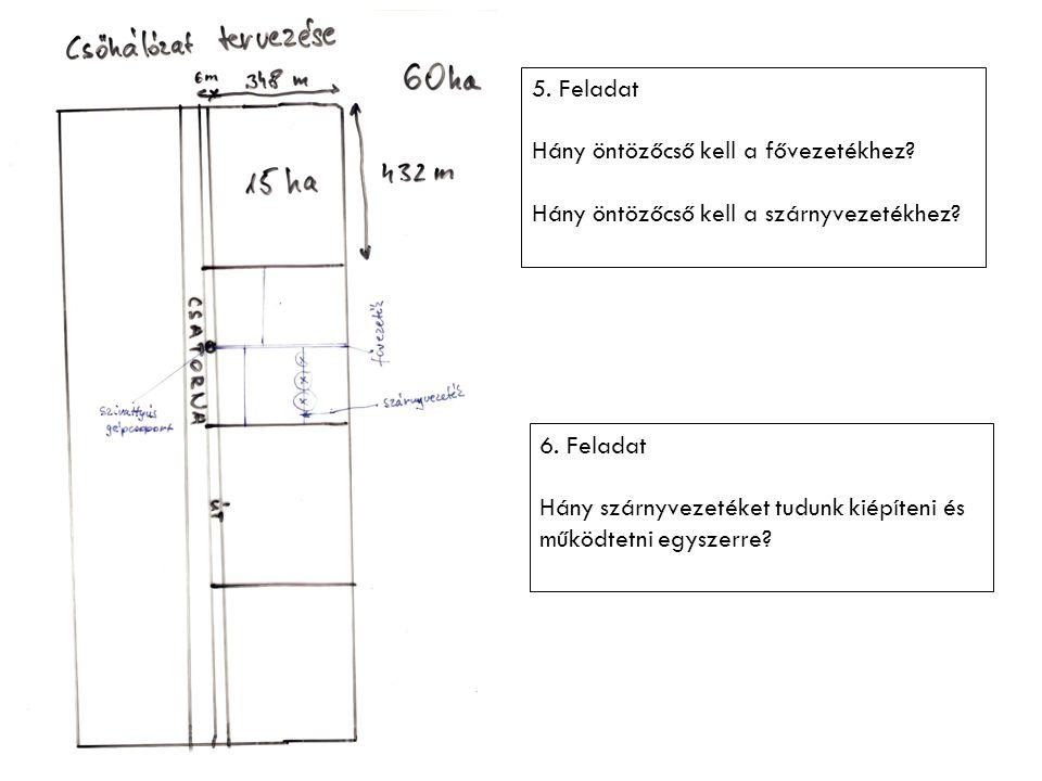 5. Feladat Hány öntözőcső kell a fővezetékhez? Hány öntözőcső kell a szárnyvezetékhez? 6. Feladat Hány szárnyvezetéket tudunk kiépíteni és működtetni