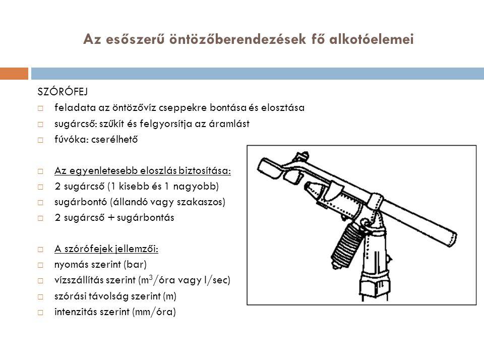 Az esőszerű öntözőberendezések fő alkotóelemei SZÓRÓFEJ  feladata az öntözővíz cseppekre bontása és elosztása  sugárcső: szűkít és felgyorsítja az á