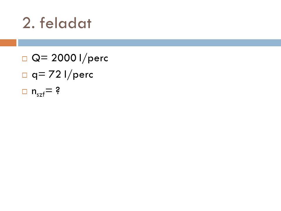 2. feladat  Q= 2000 l/perc  q= 72 l/perc  n szf = ?