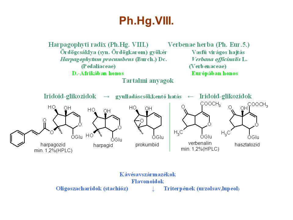Ph.Hg.VIII. harpagozid min. 1,2%(HPLC) harpagid prokumbid verbenalin min. 1,2%(HPLC) hasztatozid