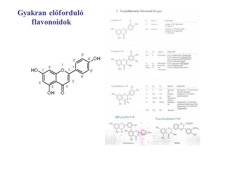Gyakran előforduló flavonoidok BIFLAVON-TYP FLAVOLIGNAN-TYP